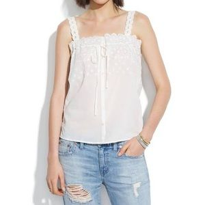 Madewell Field Lace Cami Eyelet button front